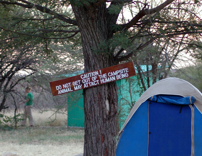 Caution! Do not get out of the campsite, animal may attact human being.